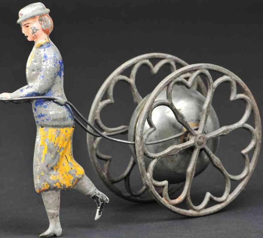 gong bell spielzeug gusseisen suffragette mit glocke