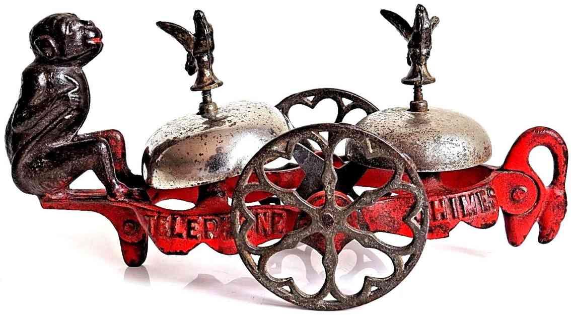 gong bell spielzeug gusseisen amerikanisches glockenspielzeug affe hello