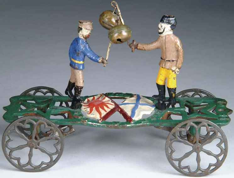 gong bell 61 cast iron toy the cossack and the jap
