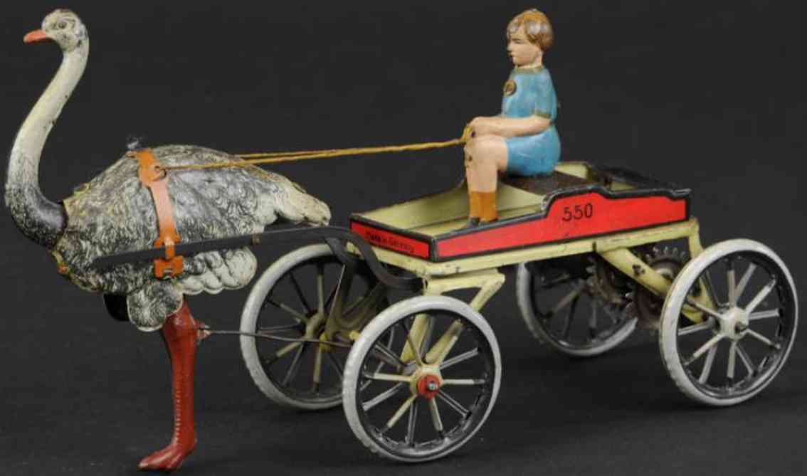 greppert & kelch 550 tin toy ostrich cart seated girl