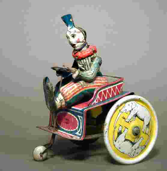 greppert & kelch 504 tin toy clown tricycle clockwork