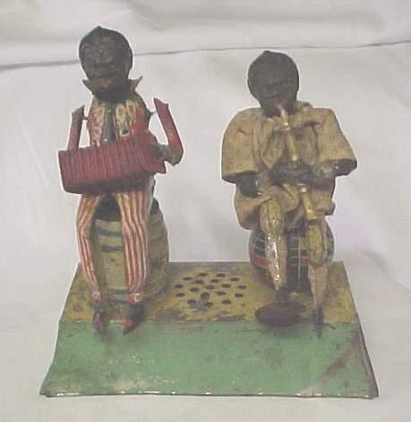 guenthermann blech spielzeug zwei schwarze musiker uhrwerk