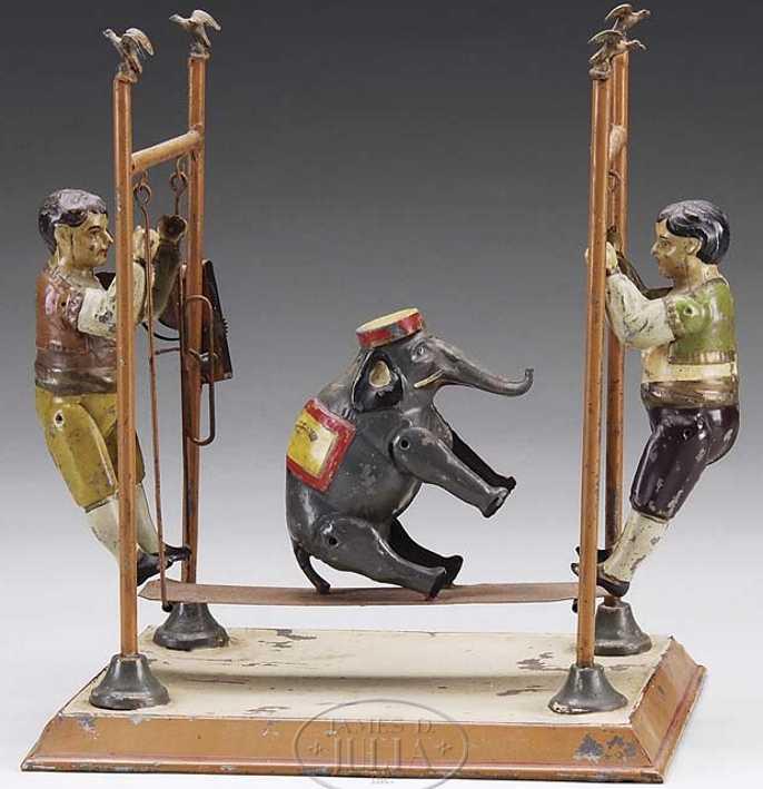 Günthermann 2 Akrobaten mit einem Elefanten auf einer Schaukel