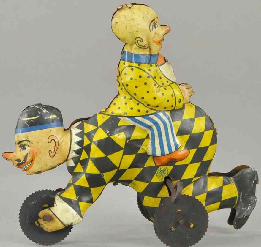 guenthermann blech spielzeug zwei komische clowns harlekin dreirad