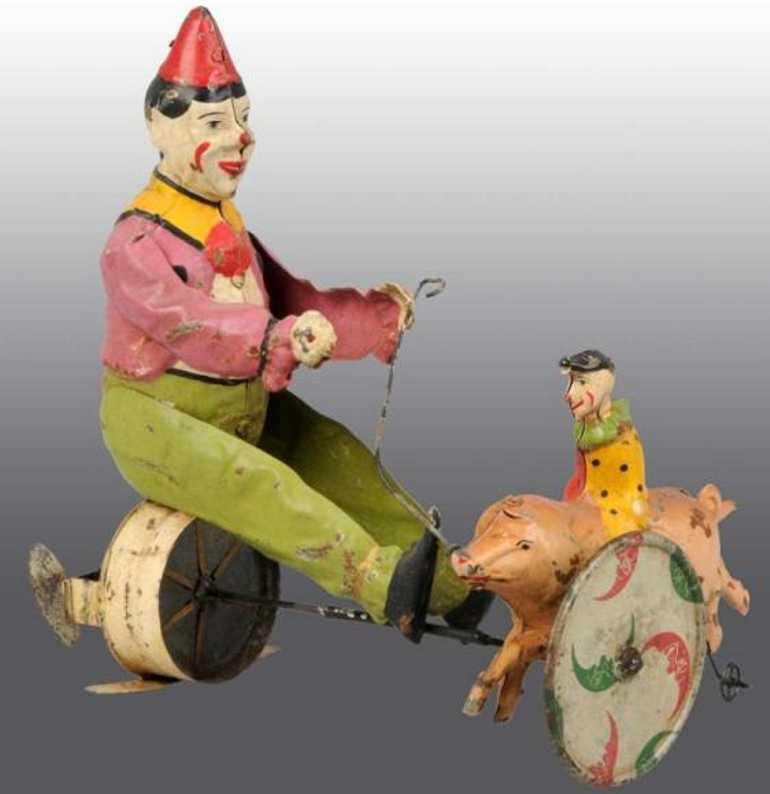 guenthermann blech spielzeug zwei clowns mit schwein