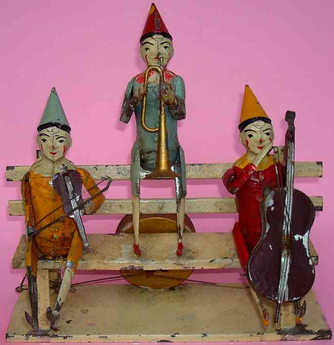 guenthermann blech spielzeug drei musik clowns auf bank