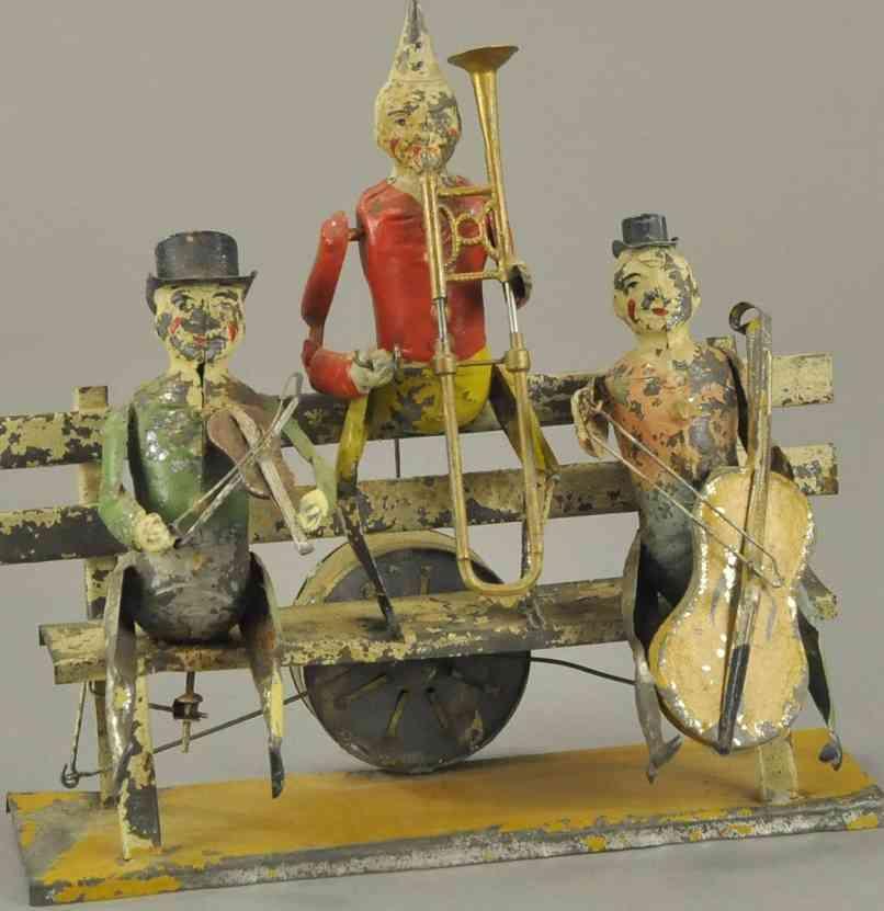 guenthermann blech spielzeug clown drei musiker clowns auf einer bank