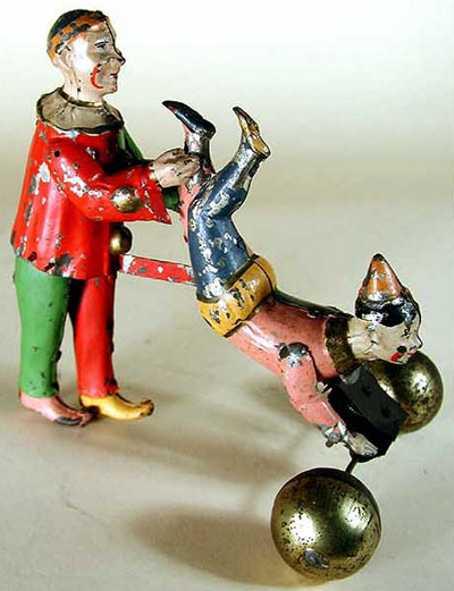 guenthermann blech spielzeug zwei clowns als akrobaten bilden eine schubkarre