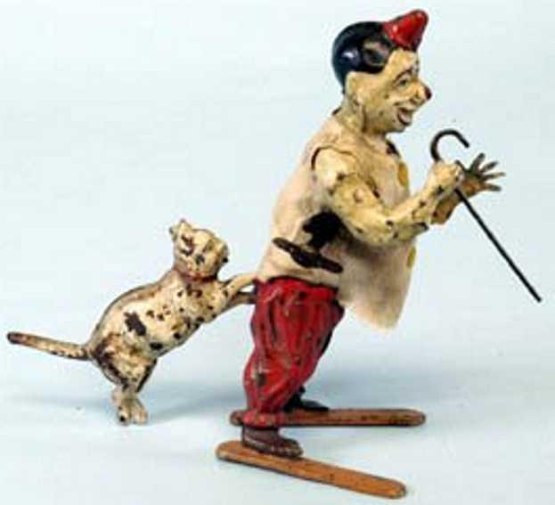 Günthermann Clowns Clown auf Skiern mit Uhrwerk mit Katze