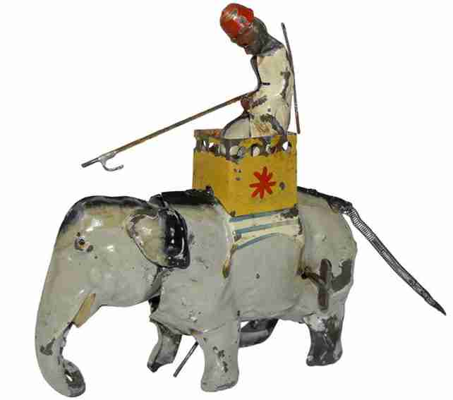 Guenthermann Elephant with rider in HOWDAH windup toy
