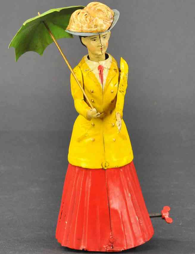 guenthermann tin toy woman with parasol clockwork