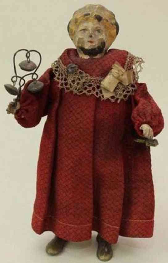 guenthermann tin mechanical doll walking and shaking toy bells
