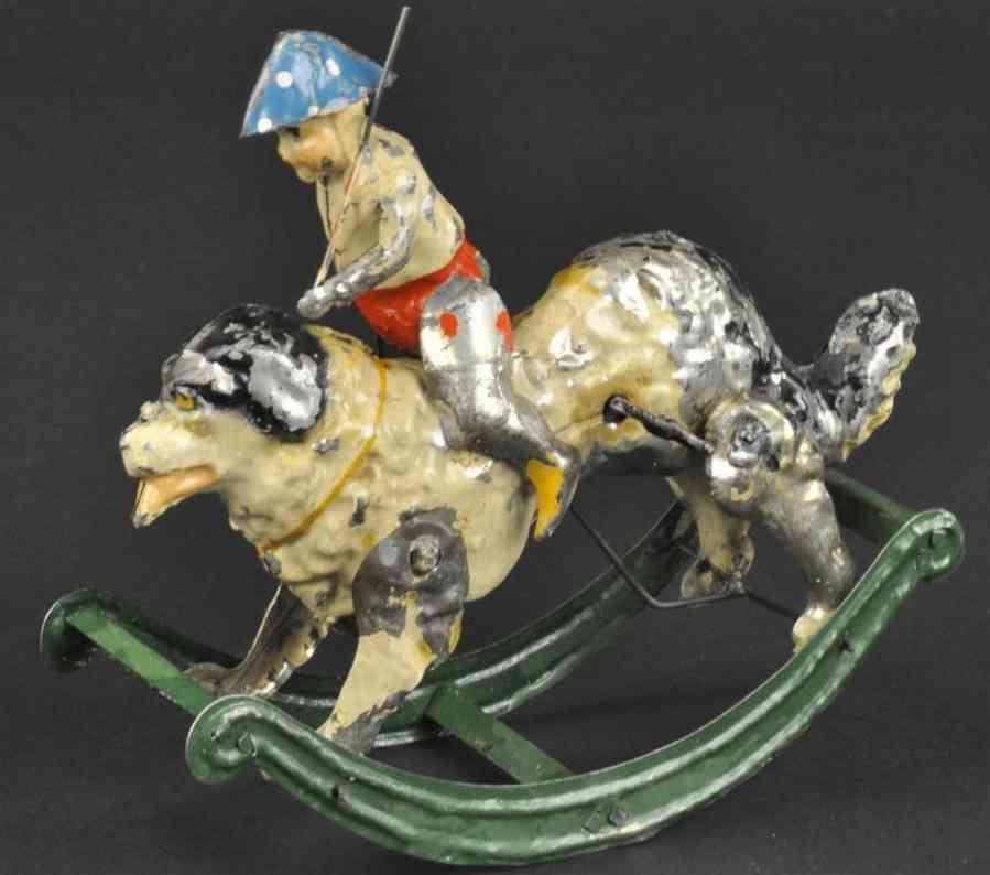 guenthermann blech spielzeug soldatanjunge reitet hund wippe