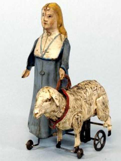 Günthermann Maria und ihr kleines Lamm handbemalt mit Uhrwerk