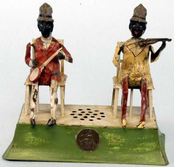 guenthermann zwei sitzende schwarze musiker Blech banho fiedel