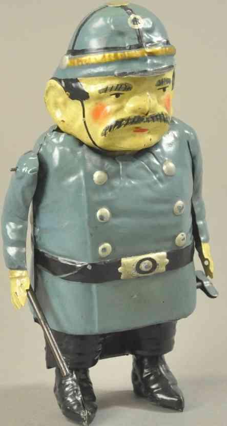 guenthermann blech spielzeug polizist uhrwerk helm