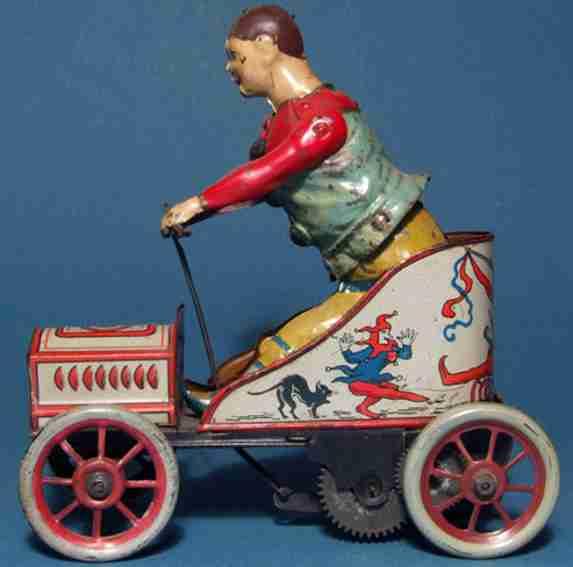 Günthermann Clown Auto handbemalt imd lithografiert mit Uhrwerk
