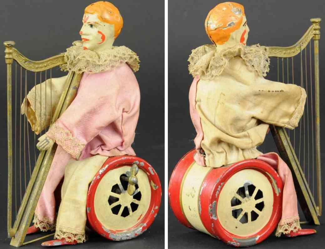 guenthermann blech spielzeug clown mit harfe