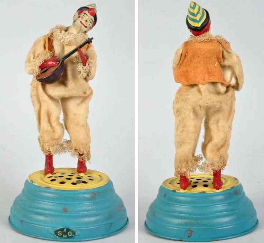 guenthermann blech spielzeug clown mandoline runder sockel