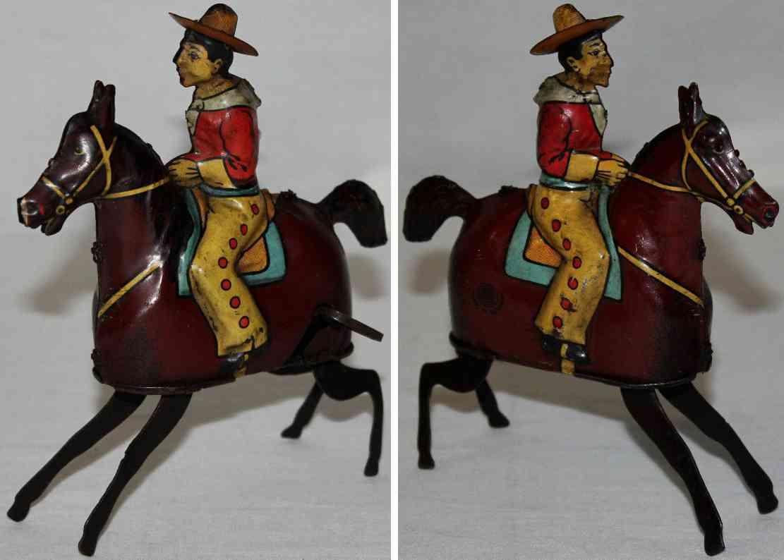 guenthermann blech spielzeug buckelndes halbwildes pferd cowboy uhrwerk