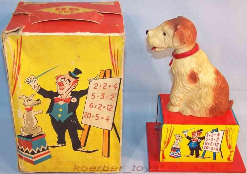 hammerer & kuhlwein 574 tin toy calculating dog with clockwork