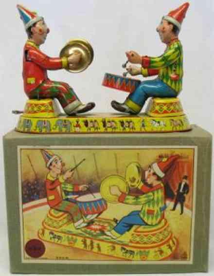 ehn tin toy clown clown musicians drum