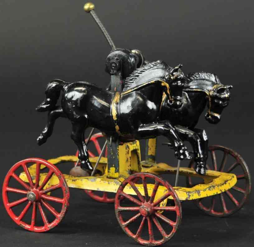 hubley gusseisen zwei taenzelnde pferde glockenspielzeug