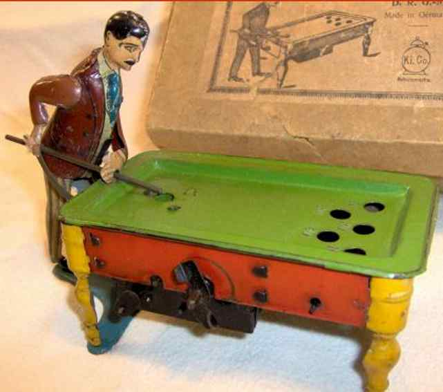 huki kienberger tin toy antique tin pool player