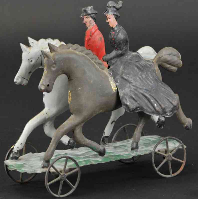 hull & stafford tin toy double riders platform
