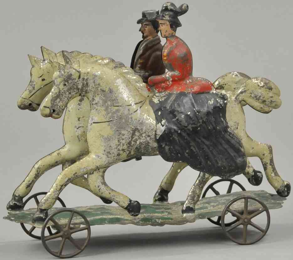 hull & stafford blech spielzeug zwei reiter auf pferden auf plattform