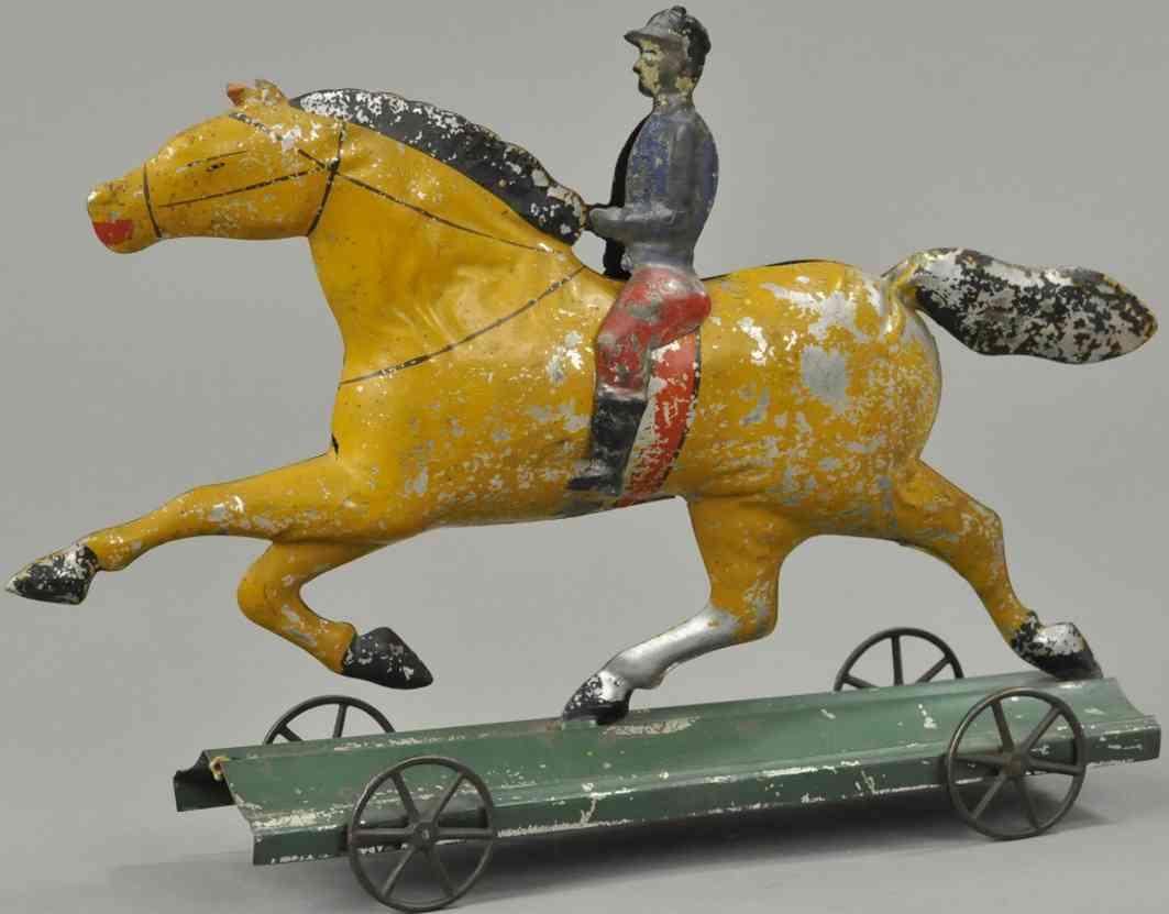 hull & stafford blech spielzeug pferd mit reiter auf plattform
