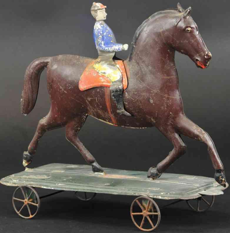 hull & stafford blech spielzeug reiter auf pferd