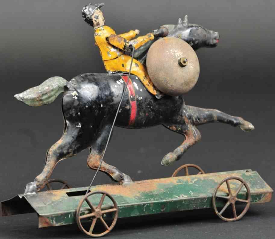 hull & stafford blech glockenspielzeug reiter auf pferd plattform