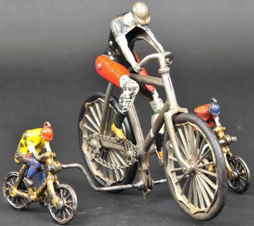ideal toy spielzeug gusseisen drei fahrradfahrer