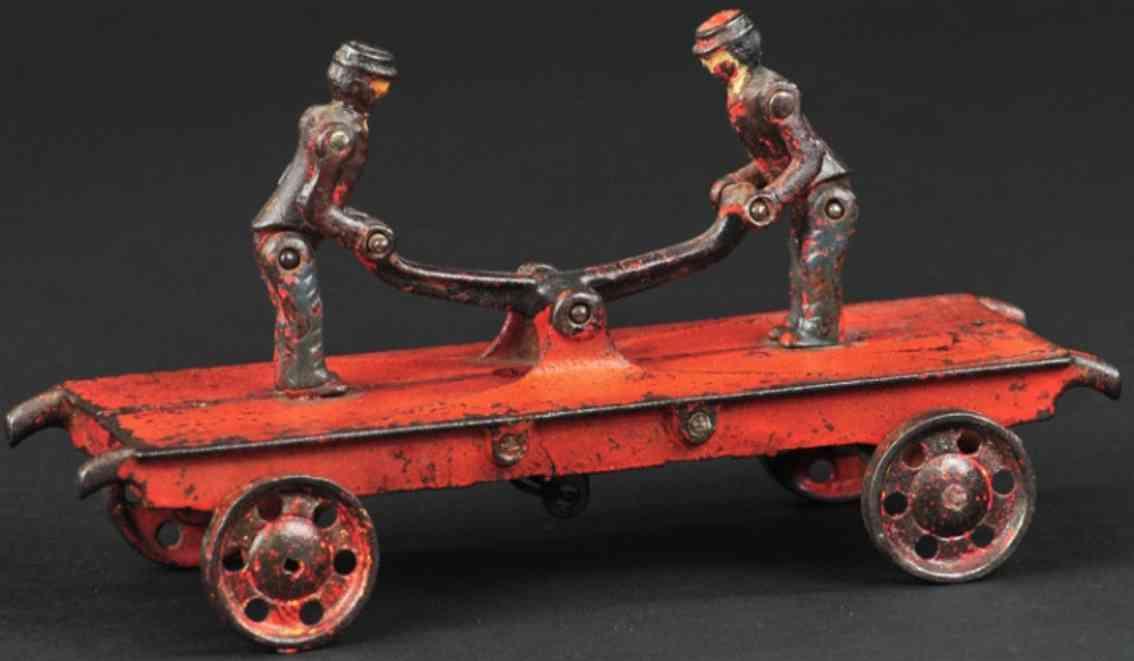 ideal toy spielzeug gusseisen draisine gelenke rot zwei figuren