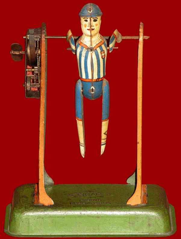 ingap tin toy gymnist wind up boy uniform bar