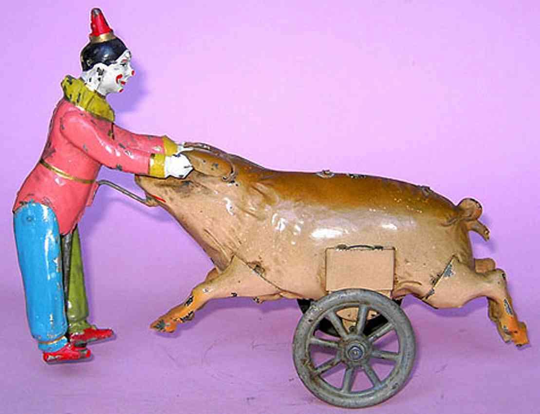 issmayer blech spielzeug clown mit schwein uhrwerk