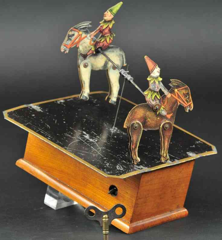 ives tin wood cardboard toy mechanical revolving mule two dancers clowns clockwork