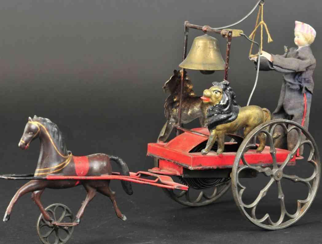 ives blech junge zwei loewen glockenspielzeug ein pferd