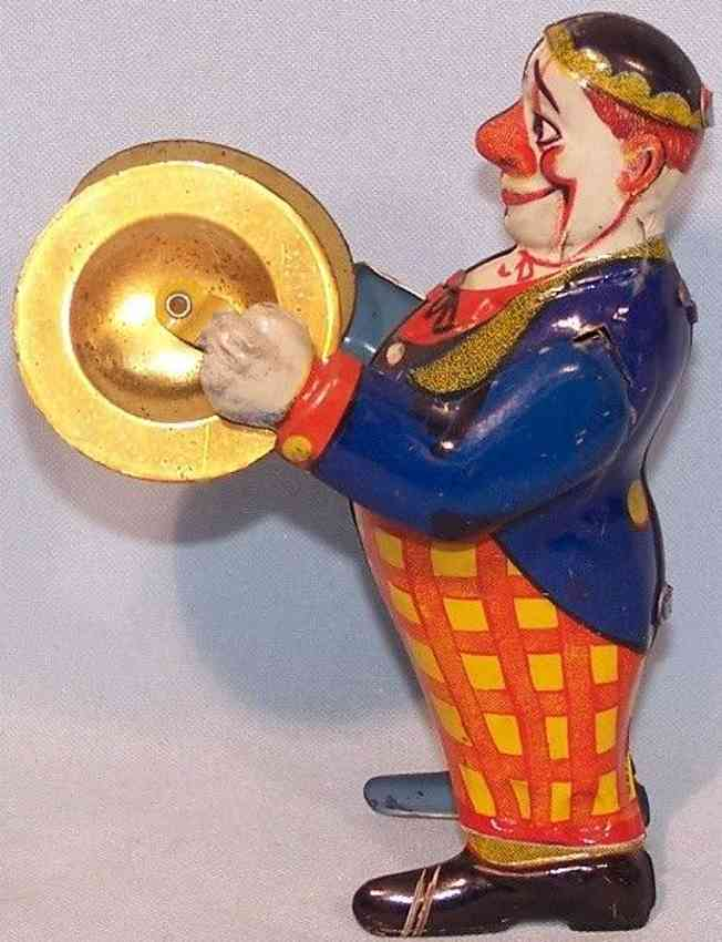keim 917/19 tin toy laughing clown with cymbals clockwork