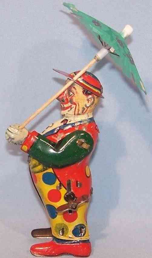 keim 917/19 tin toy clown with umbrella