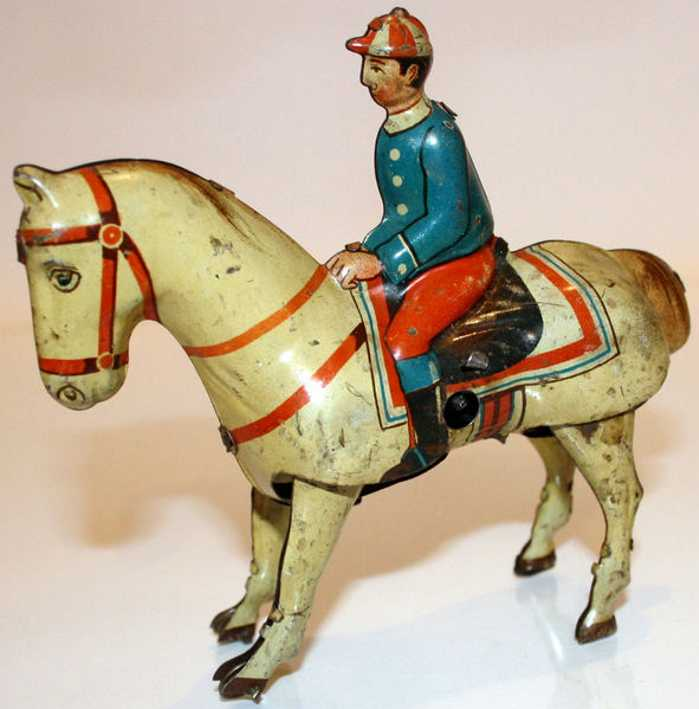 keim 903 tin toy horse and jockey with clockwork