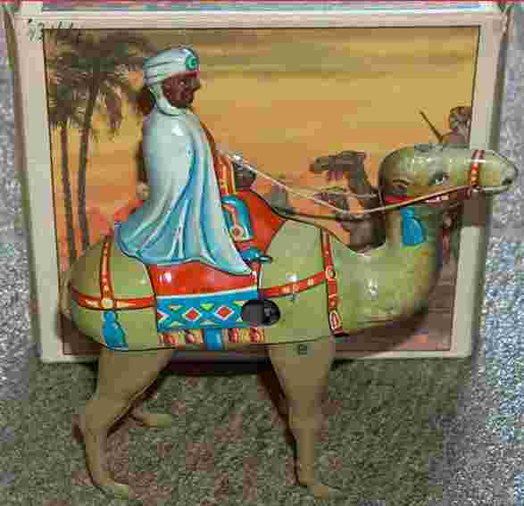 keim 901 tin toy camel with bedouin as rider and clockwork