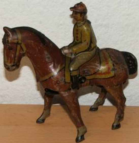 keim 900 tin toy horse with jockey and clockwork