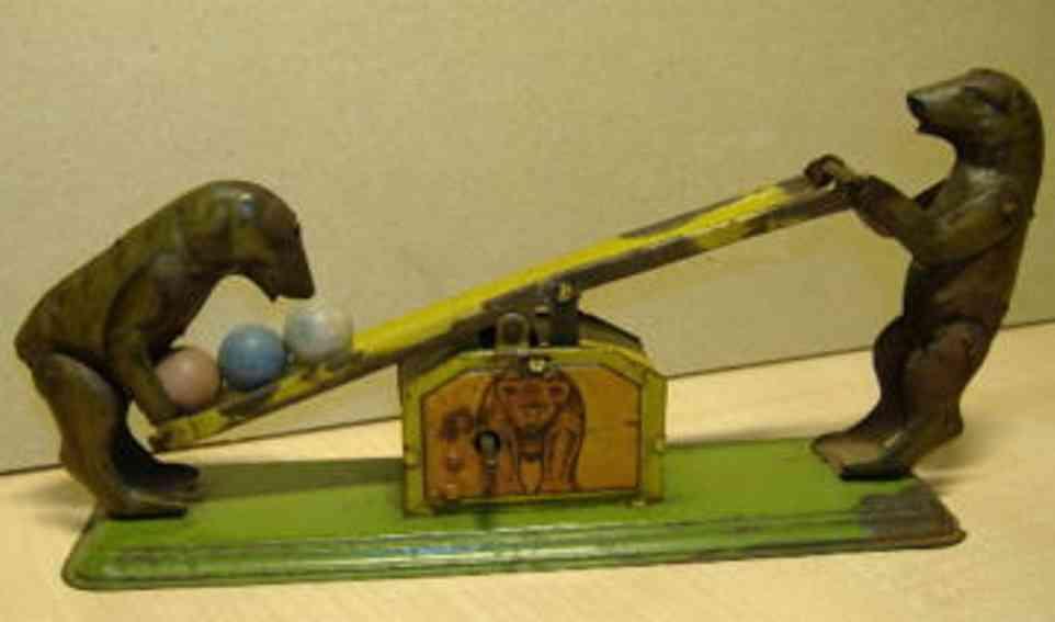 kellermann blech spielzeug bären auf einer wippe mit uhrwerk