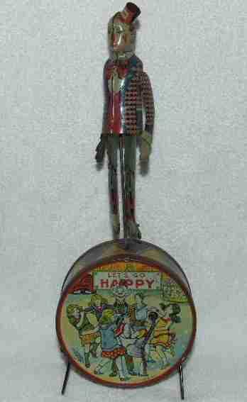 kiddies metal toys tin windup toy happy circus clown jigger drum