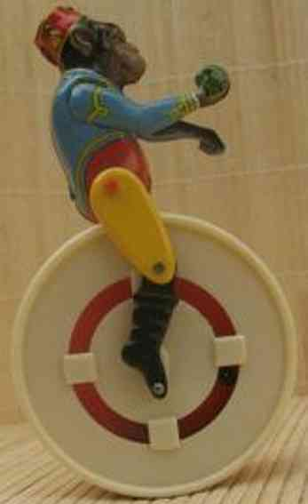 kohler tin toy monkey on wheel with clockwork tin and plastic