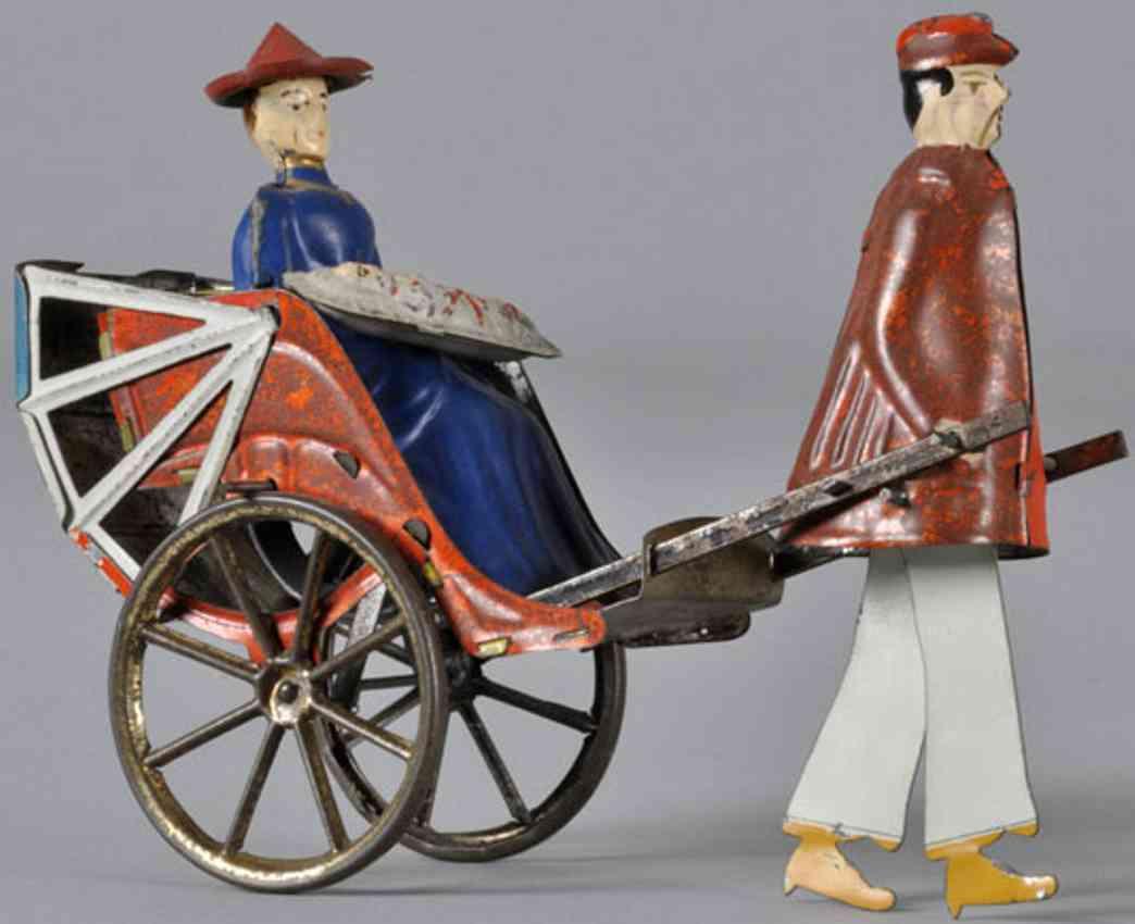 lehmann 350 tin toy mikado family clockwork blue white red umbrella red coat