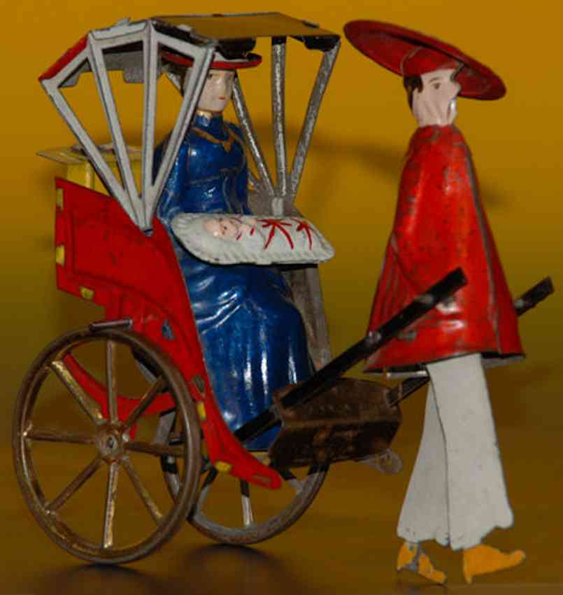 lehmann 350 tin toy mikado family clockwork blue white red umbrella red coat