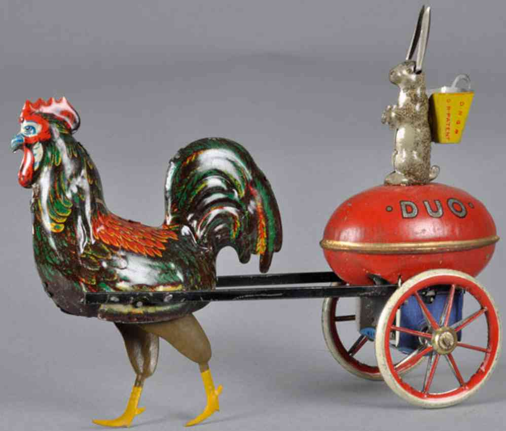 lehmann 370 tin toy tin wind-up rooster rabbit duo without attachement
